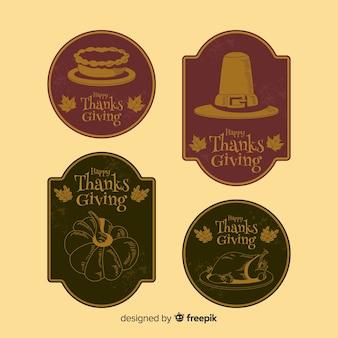 Collezione di badge del ringraziamento vintage
