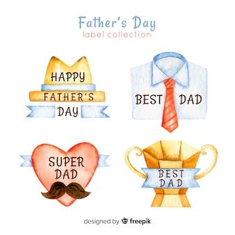 Collezione di badge dell'acquerello festa del papà