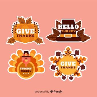 Collezione di badge design piatto giorno del ringraziamento