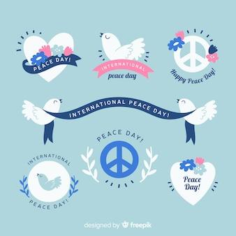 Collezione di badge design piatto giorno della pace