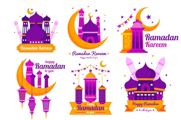 Collezione di badge design piatto ramadan