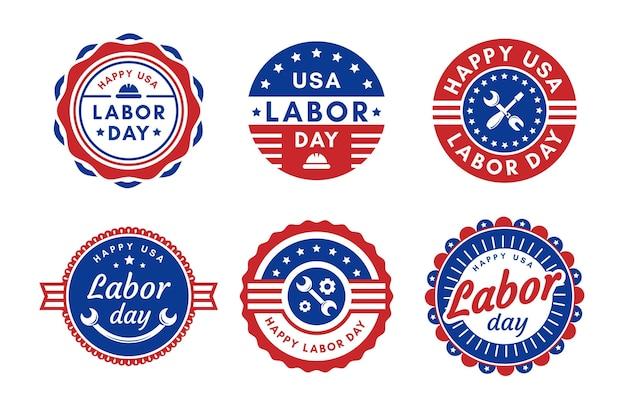Collezione di badge design piatto usa festa del lavoro