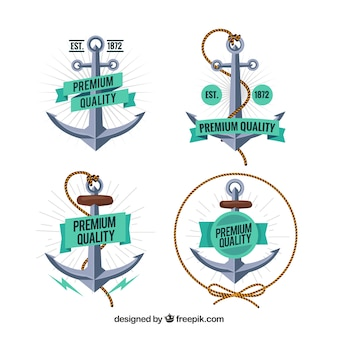 Collezione di badge di ancoraggio creativo di quattro
