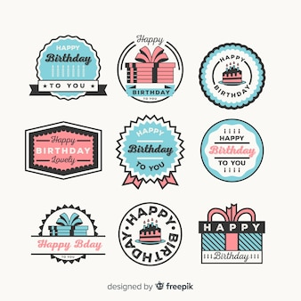 Collezione di badge di compleanno