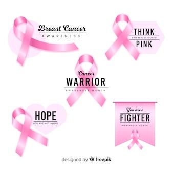 Collezione di badge di consapevolezza motivazionale del cancro al seno