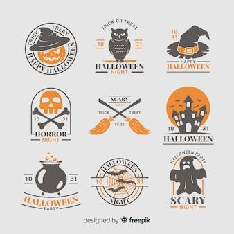 Collezione di badge di creature di halloween