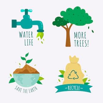 Collezione di badge di ecologia disegnare tema