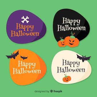 Collezione di badge di halloween disegnati a mano
