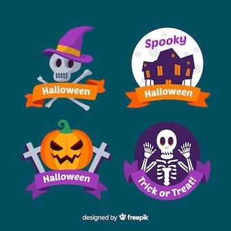 Collezione di badge di halloween piatto con sfondo di notte