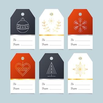 Collezione di badge di natale design piatto
