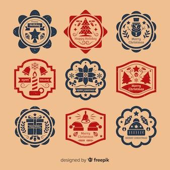 Collezione di badge di natale vintage