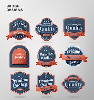 Collezione di badge di qualità retrò
