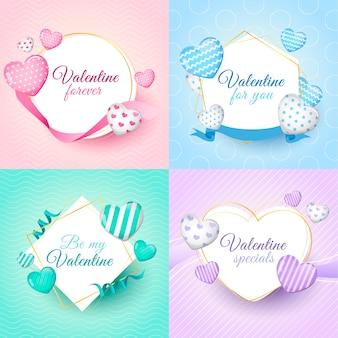 Collezione di badge di san valentino con cuori