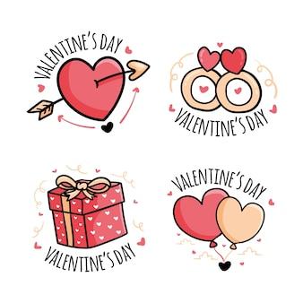 Collezione di badge di san valentino disegnati a mano