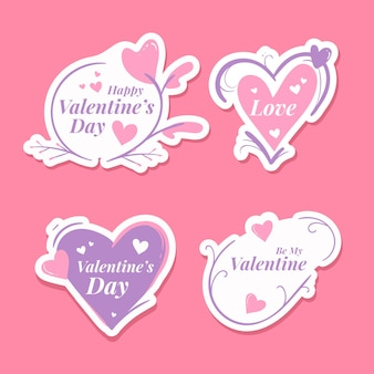 Collezione di badge di san valentino disegno a mano