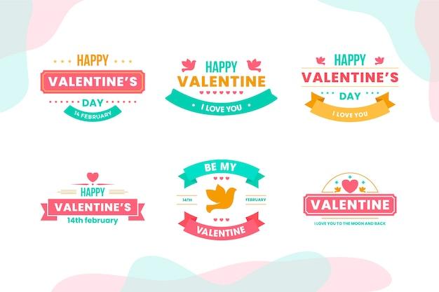 Collezione di badge di san valentino in design piatto