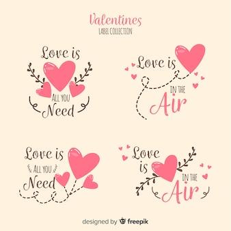 Collezione di badge di san valentino