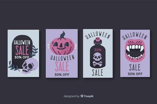 Collezione di badge di vendita di halloween disegnati a mano