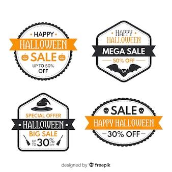 Collezione di badge di vendita di halloween su design piatto