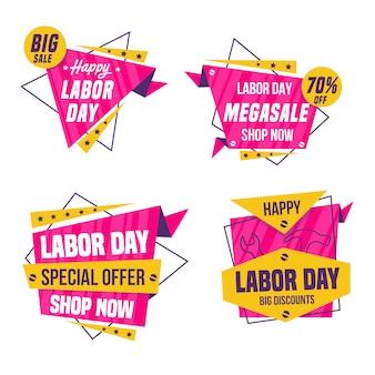 Collezione di badge di vendita festa del lavoro