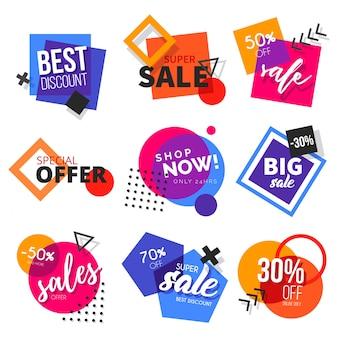 Collezione di badge di vendita moderna con forme colorate