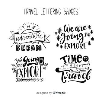 Collezione di badge di viaggio lettering