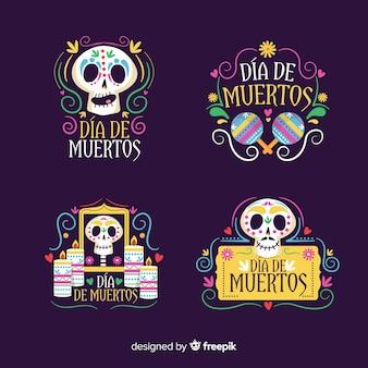 Collezione di badge dia de muertos design piatto