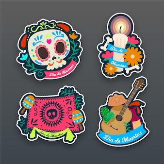 Collezione di badge dia de muertos in design piatto