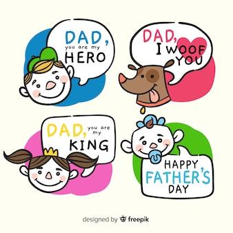 Collezione di badge disegnata a mano del papà