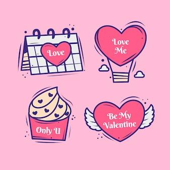 Collezione di badge disegnati a mano per san valentino