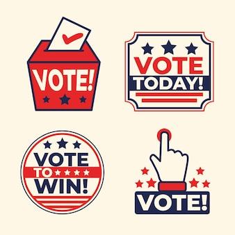 Collezione di badge e adesivi di voto