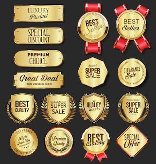 Collezione di badge e scudi retrò vintage corona d'alloro dorata