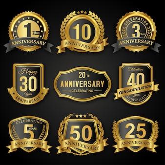 Collezione di badge ed etichette sigillo anniversario anni nero e oro