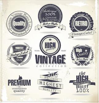 Collezione di badge ed etichette