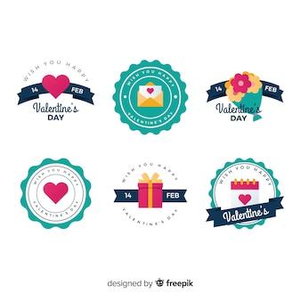 Collezione di badge elementi san valentino piatto