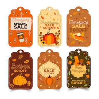 Collezione di badge etichetta ringraziamento disegnati a mano
