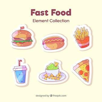 Collezione di badge fast food