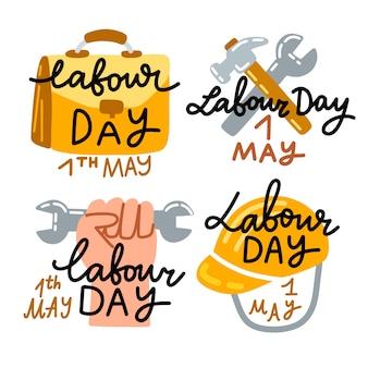 Collezione di badge festa del lavoro disegnati a mano