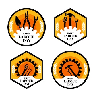 Collezione di badge festa del lavoro in design piatto