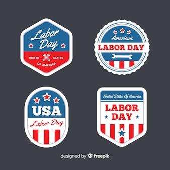 Collezione di badge festa del lavoro negli stati uniti in stile piano