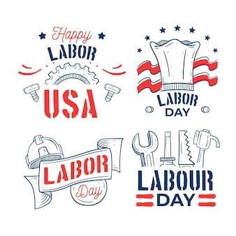 Collezione di badge festa del lavoro negli stati uniti