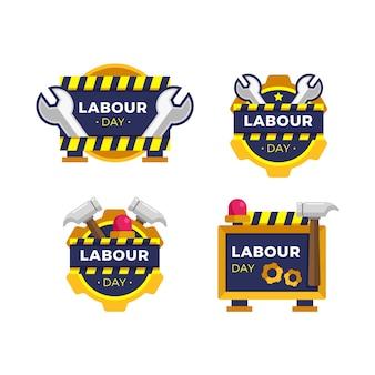 Collezione di badge festa del lavoro piatto