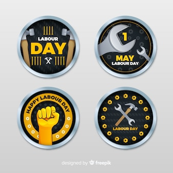 Collezione di badge festa del lavoro