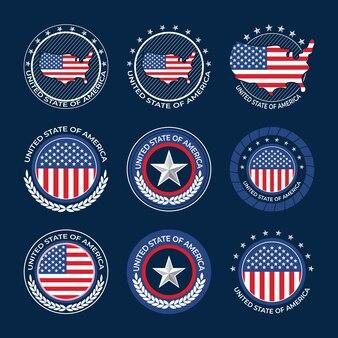 Collezione di badge festa dell'indipendenza degli stati uniti