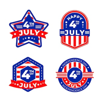 Collezione di badge festa dell'indipendenza