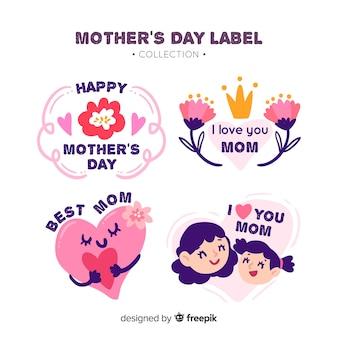 Collezione di badge festa della mamma disegnata a mano
