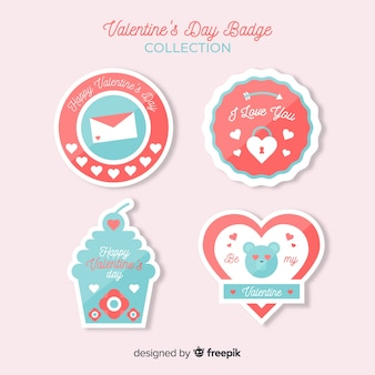 Collezione di badge flat di san valentino