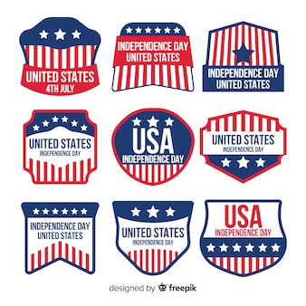 Collezione di badge flat independence day
