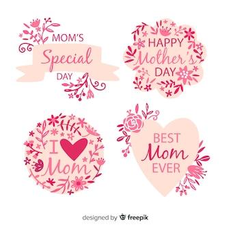 Collezione di badge floreali per la festa della mamma
