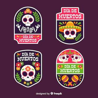 Collezione di badge geometrici piatti dia de muertos